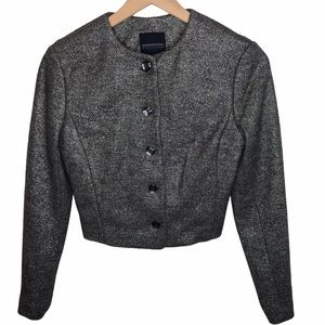 Magaschoni Collection Metallic Cropped Suit Jacket